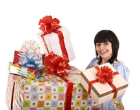 Beautiful woman with group of gift box. . Stock Photography