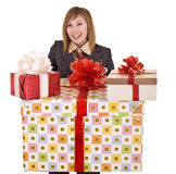 Beautiful woman with group of gift box. . Stock Image