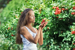 Beautiful woman with guelder rose. In the garden stock image