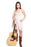 Beautiful woman with guitar Stock Image