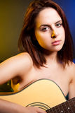 Beautiful woman with guitar Royalty Free Stock Photo
