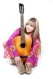 Beautiful woman with guitar Royalty Free Stock Photography