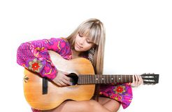 Beautiful woman with guitar Stock Images