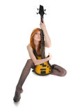 Beautiful woman with guitar Stock Photography