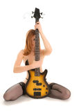 Beautiful woman with guitar Royalty Free Stock Images