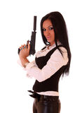 Beautiful  woman with gun Stock Photos
