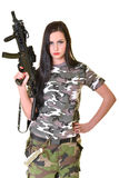 Beautiful woman with gun Stock Image