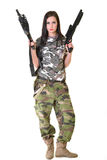 Beautiful woman with gun Stock Photos