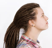 Beautiful woman with hair braided in dreadlocks Royalty Free Stock Photos