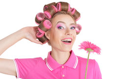 Beautiful woman in hair curlers Royalty Free Stock Photo
