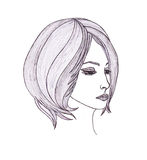 Beautiful woman with hair.Graphic style.Drawn black pen Stock Image