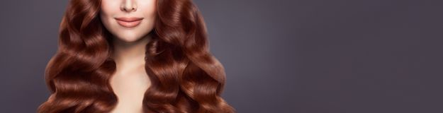 Beautiful Woman Hair Long Healthy Brown Curly Hair On Banner Background Stock Image Image Of Curly Closeup 161285545