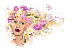 Beautiful woman with hair made of flowers vector illustration