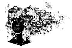Beautiful woman with hair made of flowers royalty free illustration