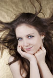 Beautiful woman with hair in motion Stock Photo