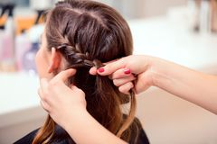 Beautiful woman in hair salon Stock Photography
