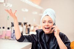 Beautiful woman in hair salon Royalty Free Stock Photos