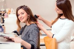 Beautiful woman in hair salon Royalty Free Stock Images