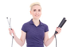 Beautiful woman hair stylist with hair curler and iron isolated Stock Photos