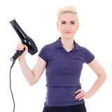 Beautiful woman hair stylist posing with hairdryer isolated on w Royalty Free Stock Photography