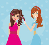 Beautiful woman in hairdressing salon. Vector Illustration Stock Photography