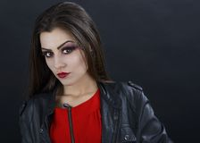 Beautiful woman with halloween makeup isolated on black backgrou Royalty Free Stock Photos