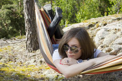 Beautiful woman in hammock Royalty Free Stock Photos