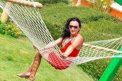 Beautiful woman on the hammock Royalty Free Stock Image