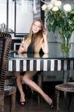 Beautiful woman is hampagne Stock Photos