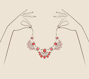 Beautiful woman hand holding jewelry . Vector illustration eps. 10 vector illustration
