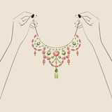 Beautiful woman hand holding jewelry . Vector illustration eps. 10 stock illustration