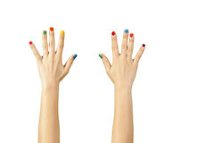 Beautiful woman hand with manicure. Isolated Stock Photos