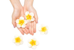 Beautiful woman hand with spa candle Royalty Free Stock Photography