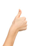 Beautiful woman hand thumb up with manucure nails Royalty Free Stock Photography