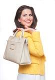 Beautiful  woman with  handbag. Royalty Free Stock Image