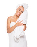 Beautiful woman handle towel, after bath, isolated on white bac. Kground, smile royalty free stock image