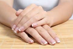 Free Beautiful Woman Hands And Nails With Perfect French Manicure Stock Photos - 41312553