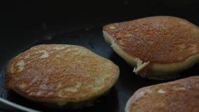 Woman Hands Cooking Souffle Pancakes dessert set. stock video