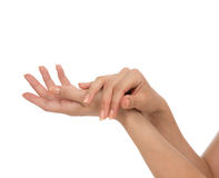 Beautiful woman hands with french manicure nails Royalty Free Stock Photo