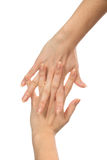 Beautiful woman hands with french manicure nails Royalty Free Stock Photography