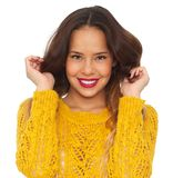 Beautiful Woman with Hands in Hair Royalty Free Stock Images