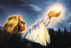 Beautiful woman with hands holding light in nocturnal landscape, computer graphic from painting. Stock Images