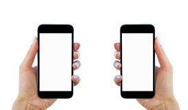 Beautiful Woman hands holding the smart phone with isolated white screen. Business workplace with copy space. Empty space for text Royalty Free Stock Image