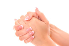 Beautiful woman hands isolated Stock Image