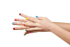 Beautiful woman hands with manicure Stock Images