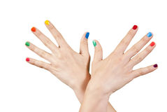 Beautiful woman hands with manicure. Isolated Royalty Free Stock Images