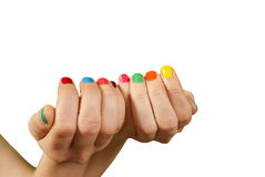Beautiful woman hands with manicure. Isolated Royalty Free Stock Photo