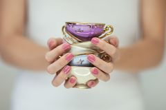 Beautiful woman hands with perfect pink nail polish holding little vintage tea cups. Romantic shabby chic mood, can be used as background stock images