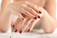 Beautiful Woman Hands. Spa Manicure concept. Soft skin, skincare Stock Image