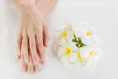 Beautiful woman hands are on a towel Royalty Free Stock Photography